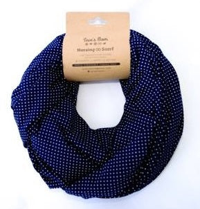 Seve's Mom Nursing Infinity Scarf Double Layer - Polka Dot Navy