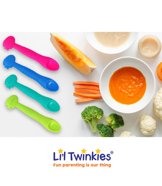 Li'l Twinkies Silicone Weaning Spoon, Teal