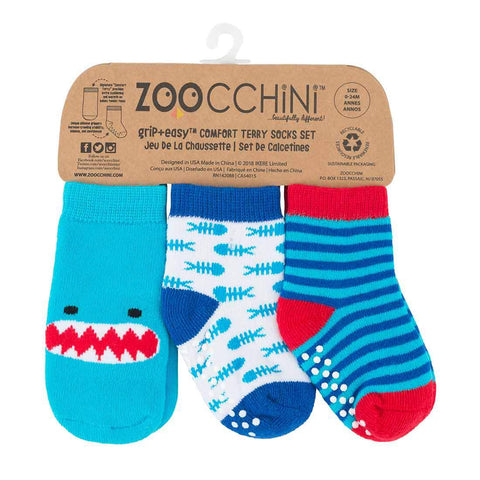 Zoocchini Terry Socks Set - Sherman The Shark