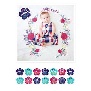 Lulujo Milestone Blanket & Card Set - Stay Wild My Child