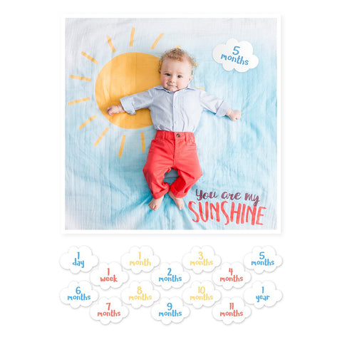 Lulujo Milestone Blanket & Card Set - You Are My Sunshine
