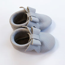 Leather Baby Moccasin bow shoe - Grey