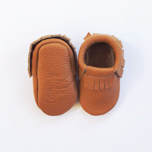 Leather Baby Moccasin Fringe shoe - Tan