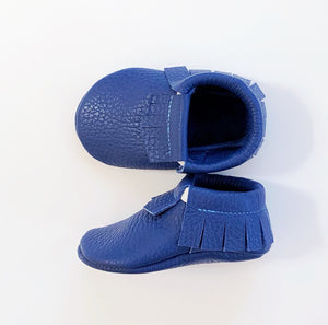 Leather Baby Moccasin Fringe shoe - Blue