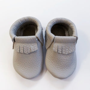 Leather Baby Moccasin Fringe shoe - Grey
