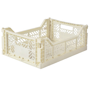 Cream Folding Crate - Medium