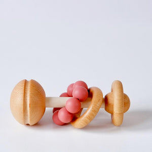 Wooden and Silicone baby rattle - Rusty Red
