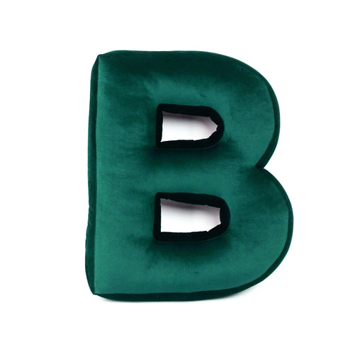 Velvet Alphabet Letter Cushion - Green (all letters)
