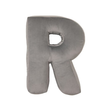 Velvet Alphabet Letter Cushion - Silver Grey (all letters)