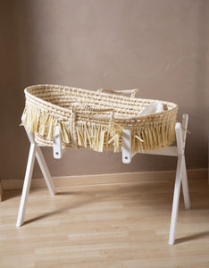 Childhome Moses Basket and wooden stand/play gym (including mattress) - Soft Corn, Husk & Raffia