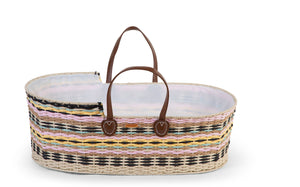 Childhome Moses Basket and wooden stand/play gym (including lining and mattress) - Multicolour