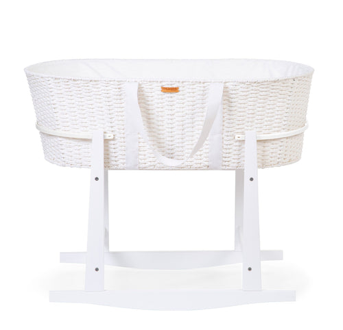 Childhome Moses Basket and Rocking Stand (including Mattress and lining) - White