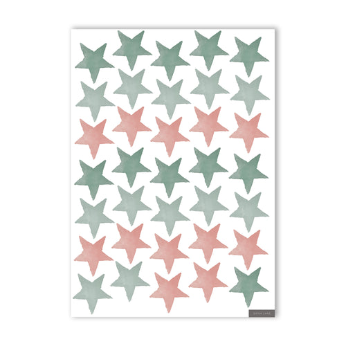 Stars Wall Stickers - Sage Greens & Blush