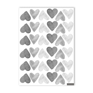 Heart Wall Stickers - Black & White