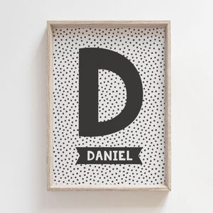 Personalised Initial Print - Black/White