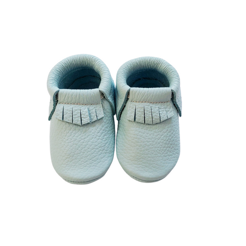 Leather Baby Moccasin Fringe shoe - Mint