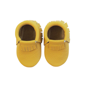 Leather Baby Moccasin Fringe shoe - Mustard