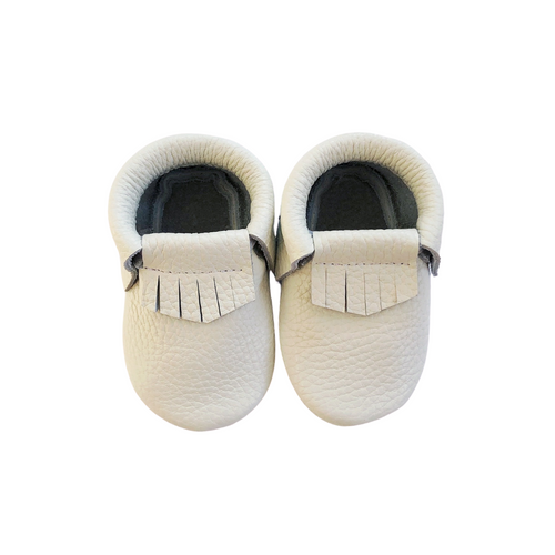 Leather Baby Moccasin Fringe shoe - White