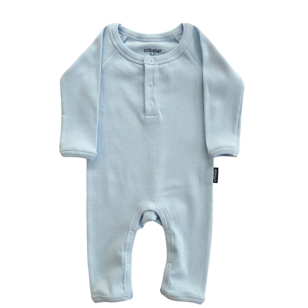 Ribbed Baby Romper - Baby Blue