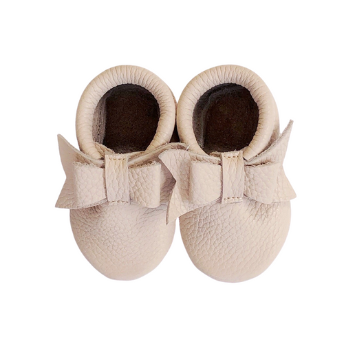 Leather Baby Moccasin bow shoe - Blush
