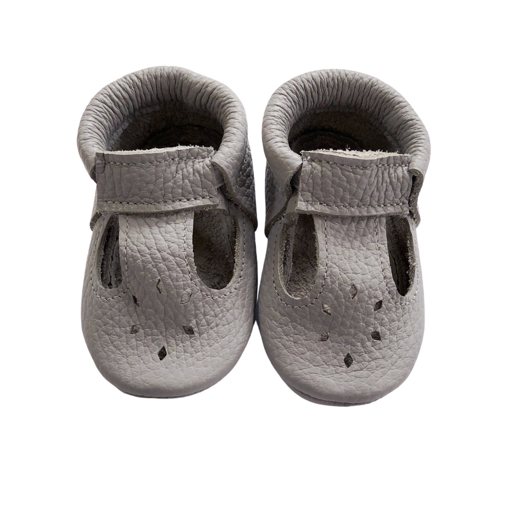Leather Baby Moccasin shoe - Grey