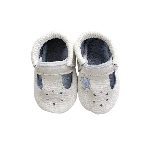 Leather Baby Moccasin shoe - White