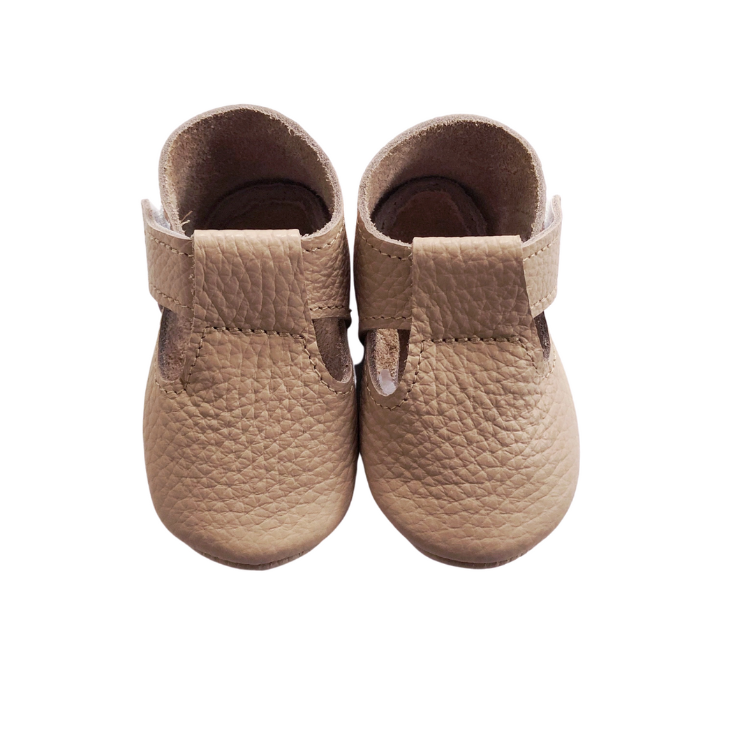 Leather Baby Moccasin Velcro shoe - Blush