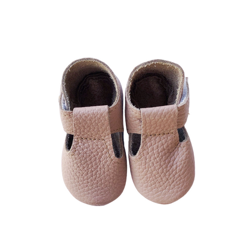 Leather Baby Moccasin Velcro shoe - Mauve