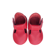 Leather Baby Moccasin Velcro shoe - Red