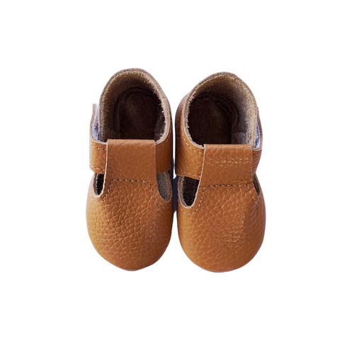 Leather Baby Moccasin Velcro shoe - Tan