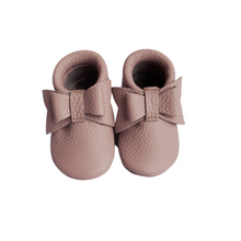 Leather Baby Moccasin bow shoe - Mauve