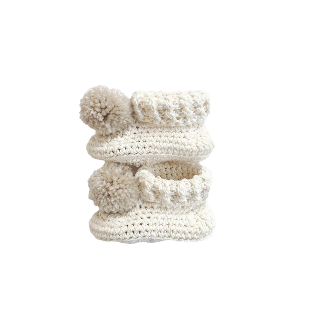 Pom Pom High Top Booties - Cream/Fawn