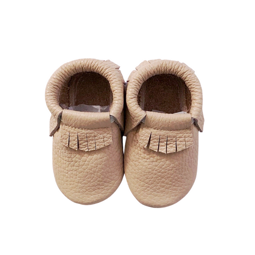 Leather Baby Moccasin Fringe shoe - Blush