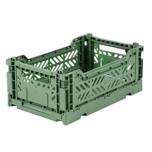 Almond Green Folding Crate - Small