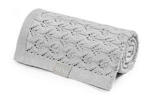 Openwork Bamboo Blanket 80x100 Light Grey
