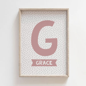 Personalised Initial Print - Dusty Pink