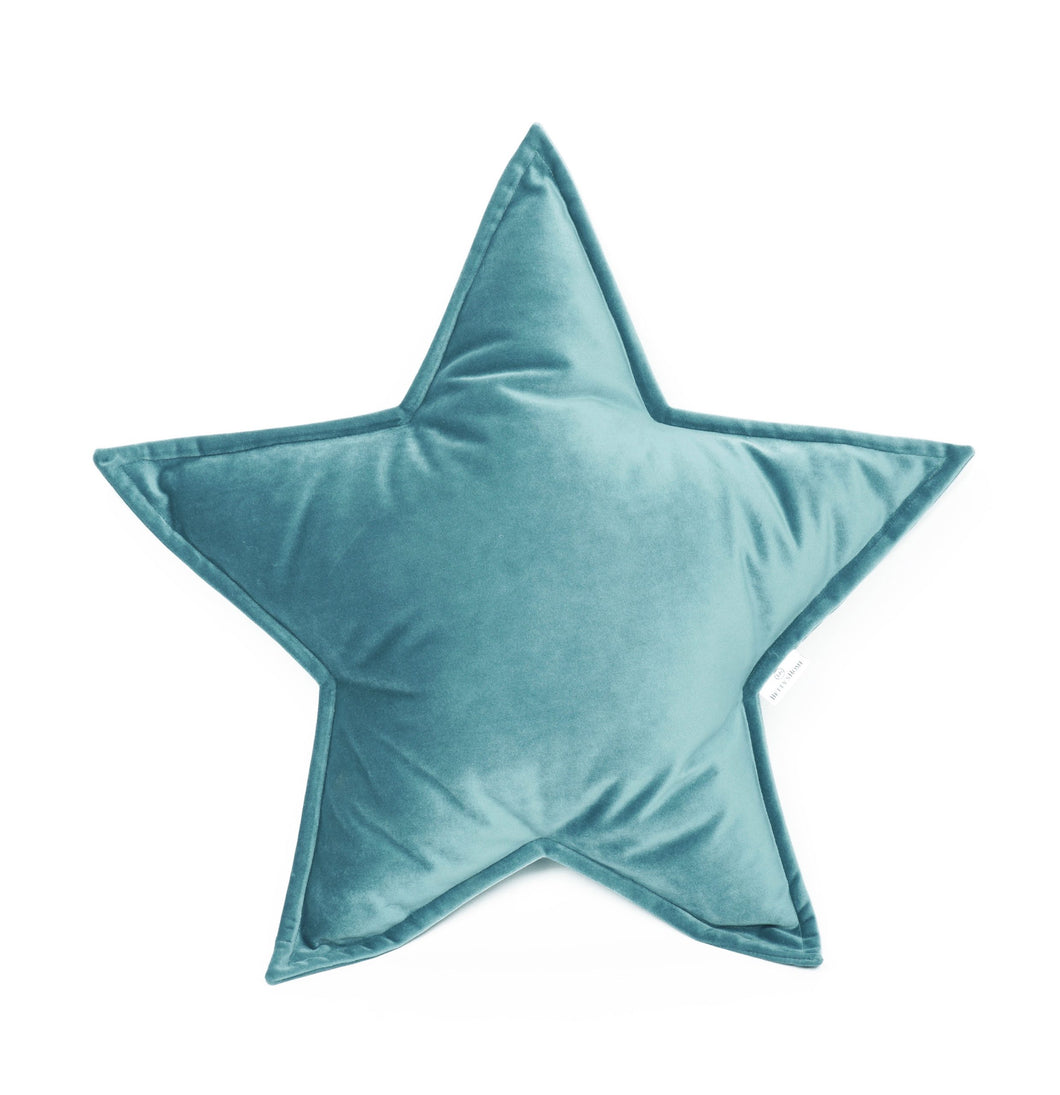 Velvet Star Shaped Cushion - Sea Green