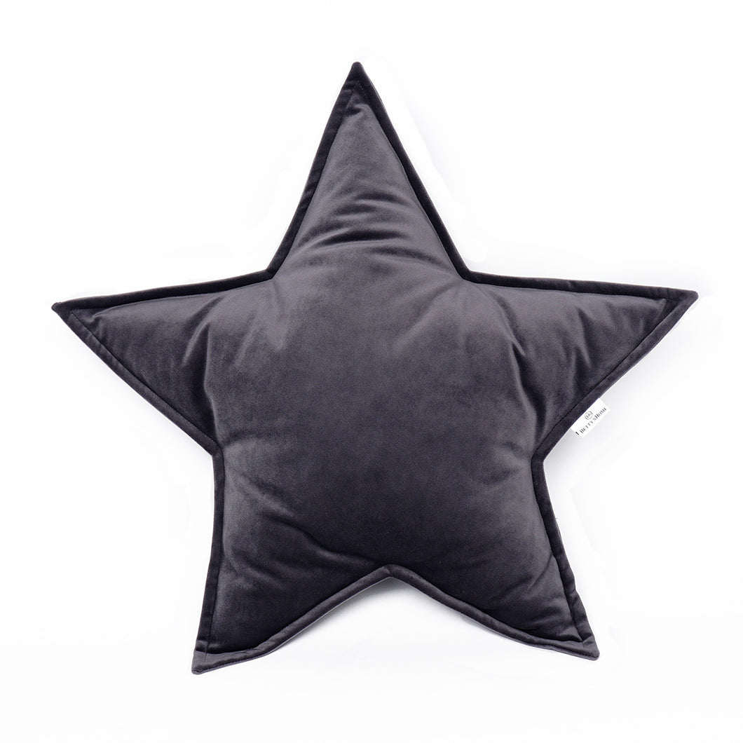 Velvet Star Shaped Cushion - Graphite