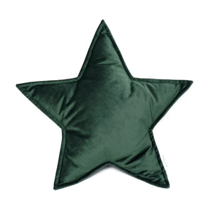 Velvet Star Shaped Cushion - Green