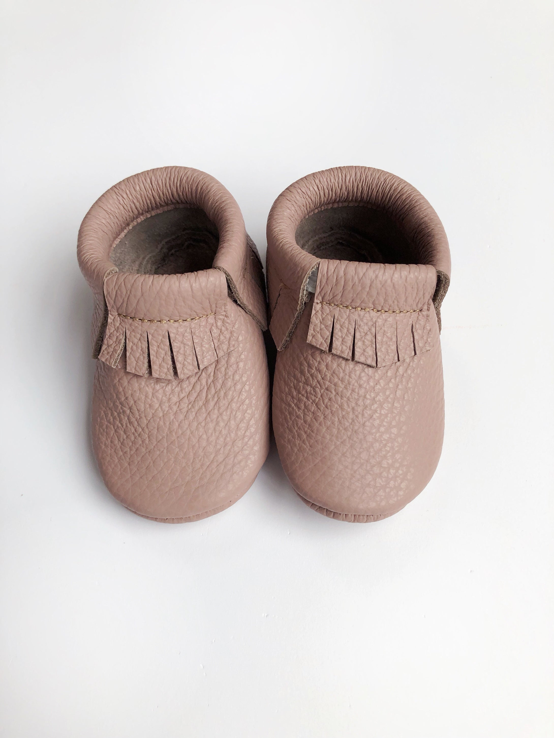 Leather Baby Moccasin Fringe shoe - Mauve