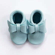 Leather Baby Moccasin bow shoe - Mint