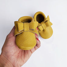 Leather Baby Moccasin bow shoe - Mustard