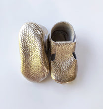 Leather Baby Moccasin Velcro shoe - Gold