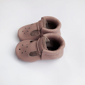 Leather Baby Moccasin shoe - Mauve