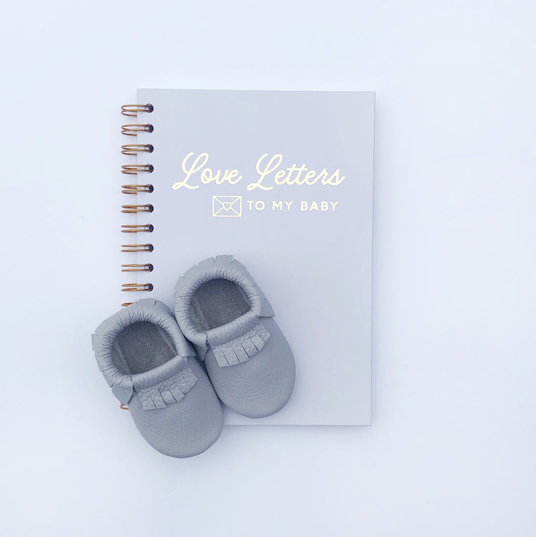 'Love Letters To My Baby' Grey Foil Notebook