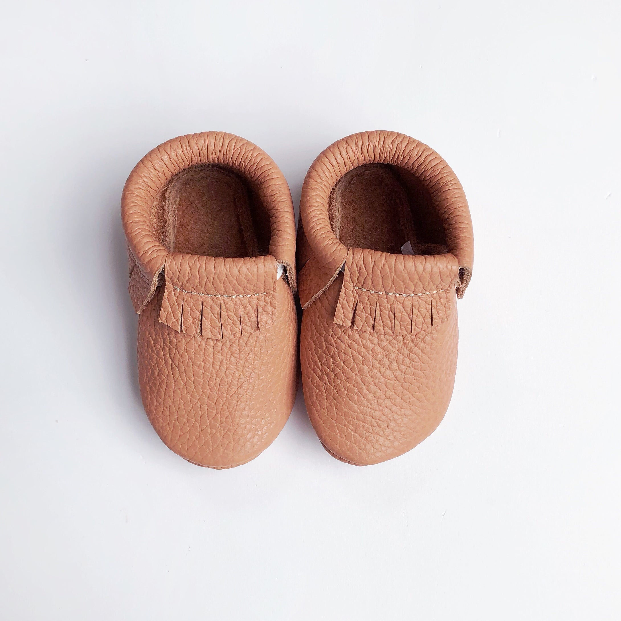 Leather Baby Moccasin Fringe shoe - Coral