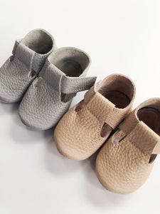 Leather Baby Moccasin Velcro shoe - Grey