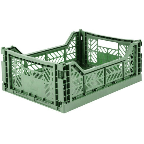 Almond Green Folding Crate - Medium