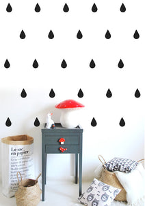 Raindrops Wall Stickers - Black