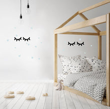 Large Eyelashes and Stars Wall Stickers - Black/Blue